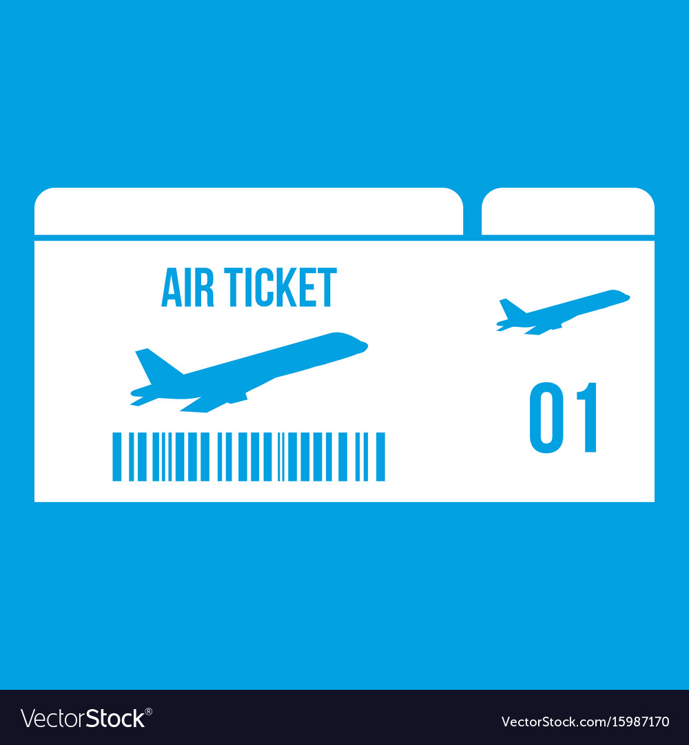 Airline Boarding Pass Icon White Vector Image