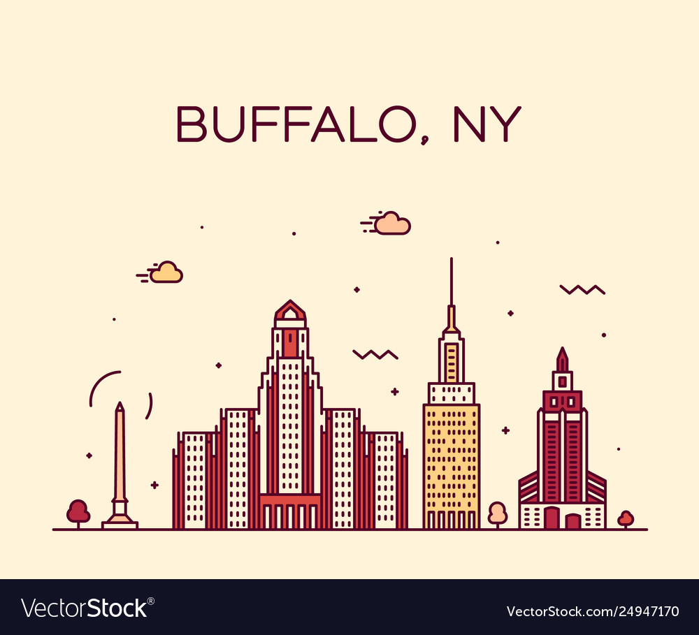 Buffalo skyline new york usa linear style