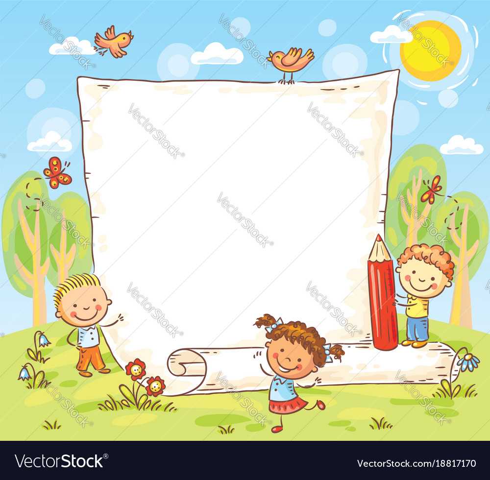 Cartoon frame with three kids outdoors Royalty Free Vector
