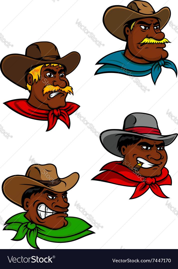 Cartoon western cowboys and sheriffs