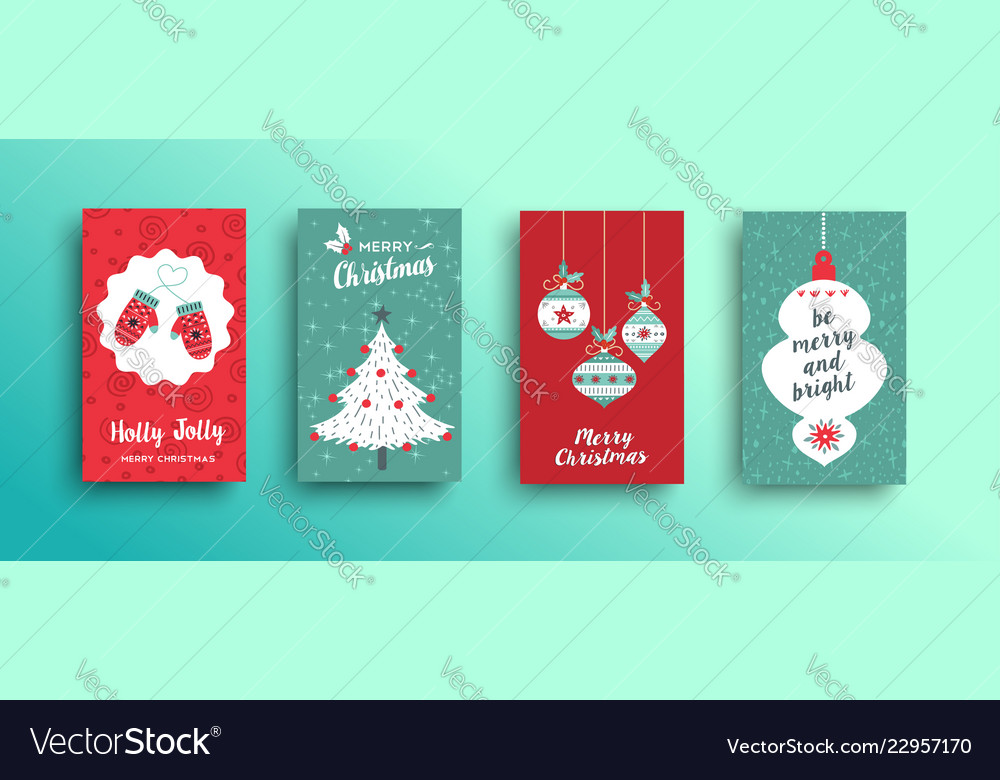 Christmas retro style cute greeting card set