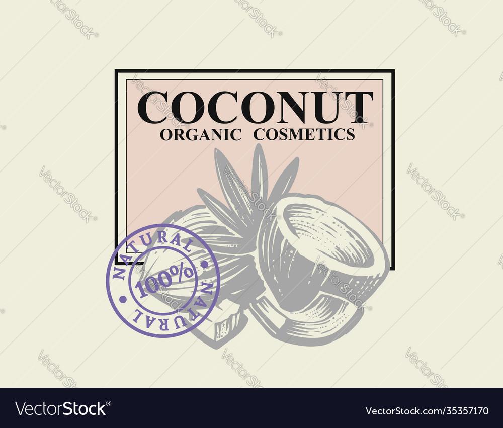 Coconut sketch oil cosmetics emblem
