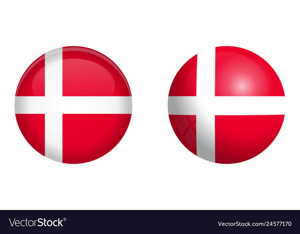 Denmark flag under 3d dome button and on glossy