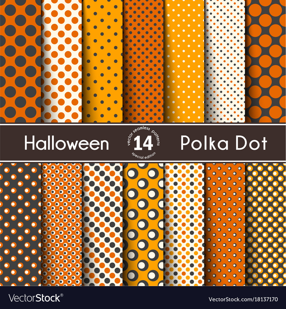 Fourteen polka dot on the halloween seamless vector image