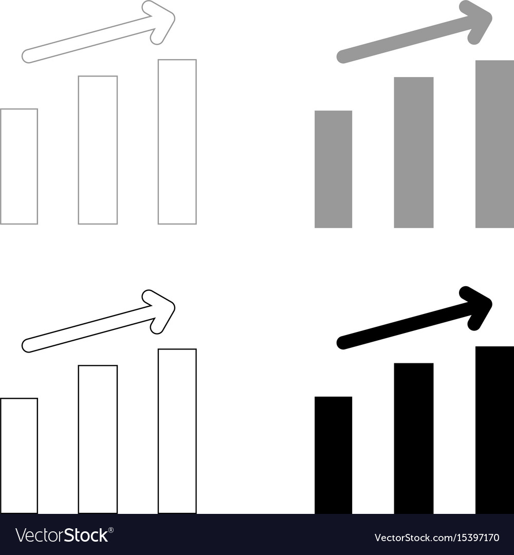 Growth chart the black and grey color set icon