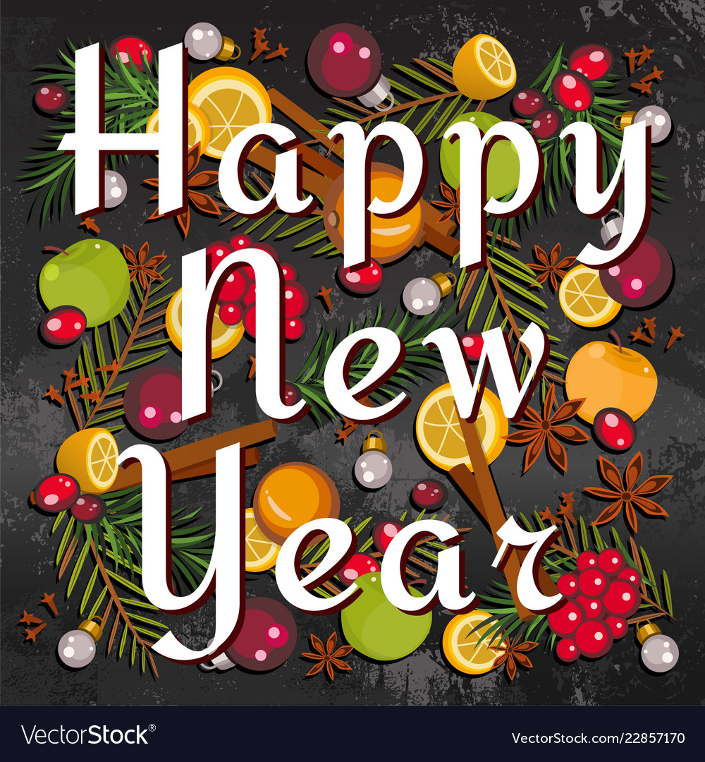 happy new year merry christmas gift card vector image