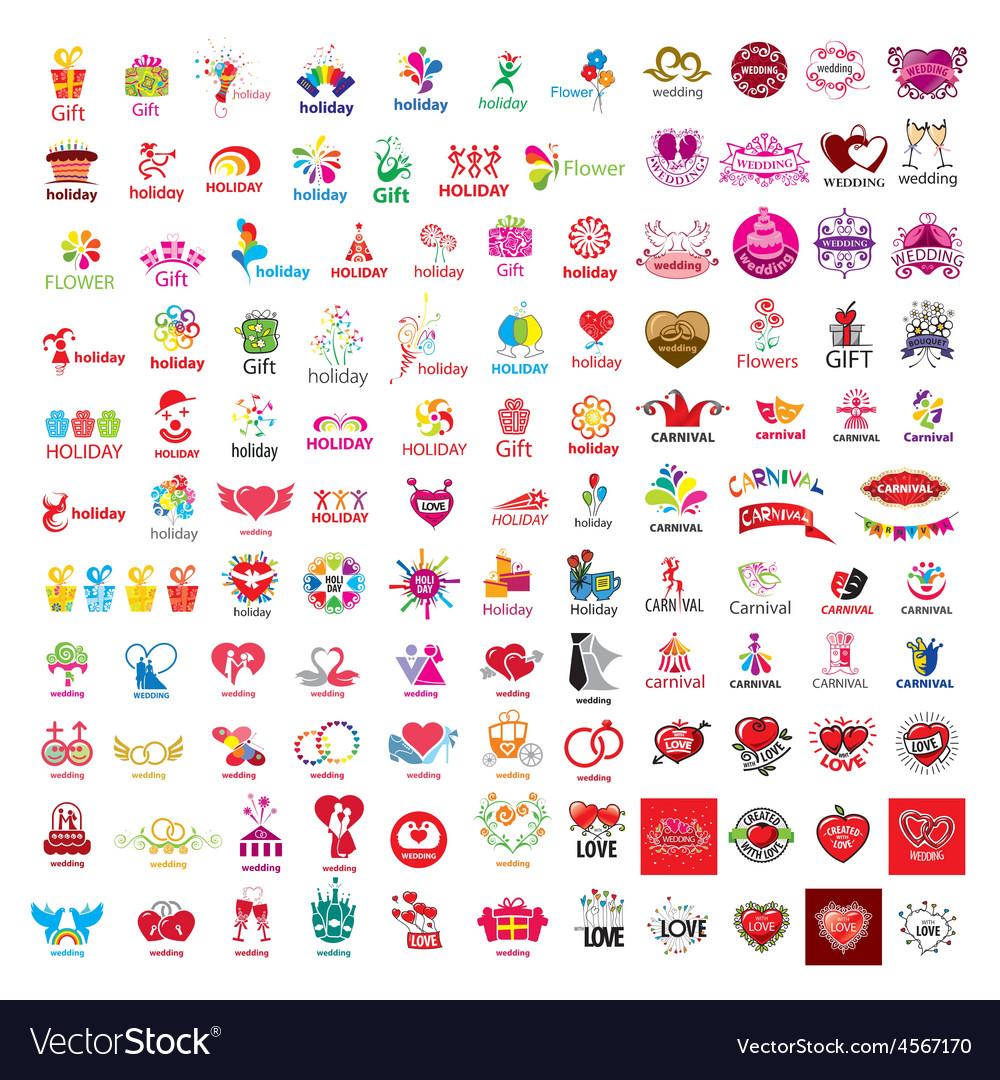 Large set logos holiday