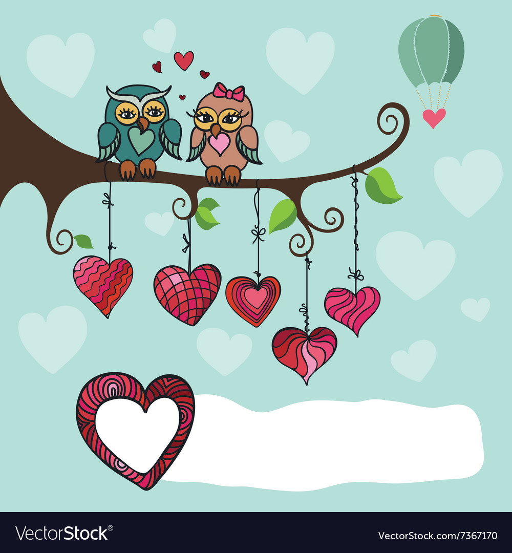 Owls couple sitting on a branch with heart