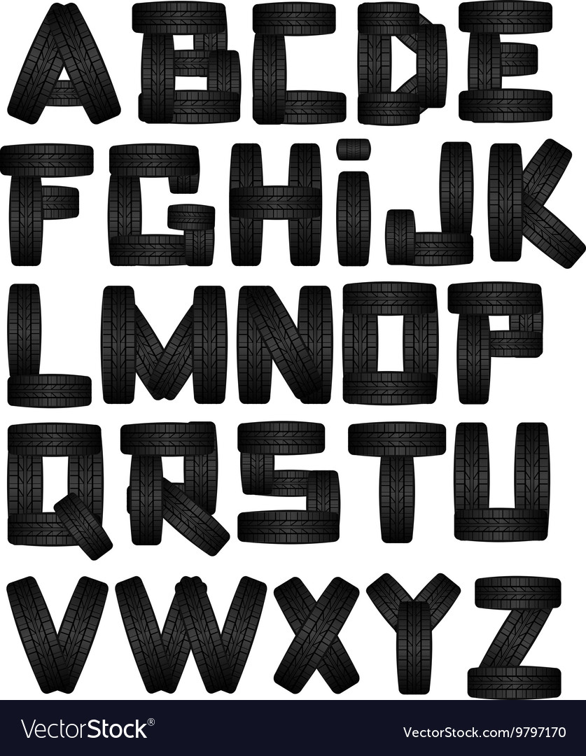 Tire font on white background alphabet