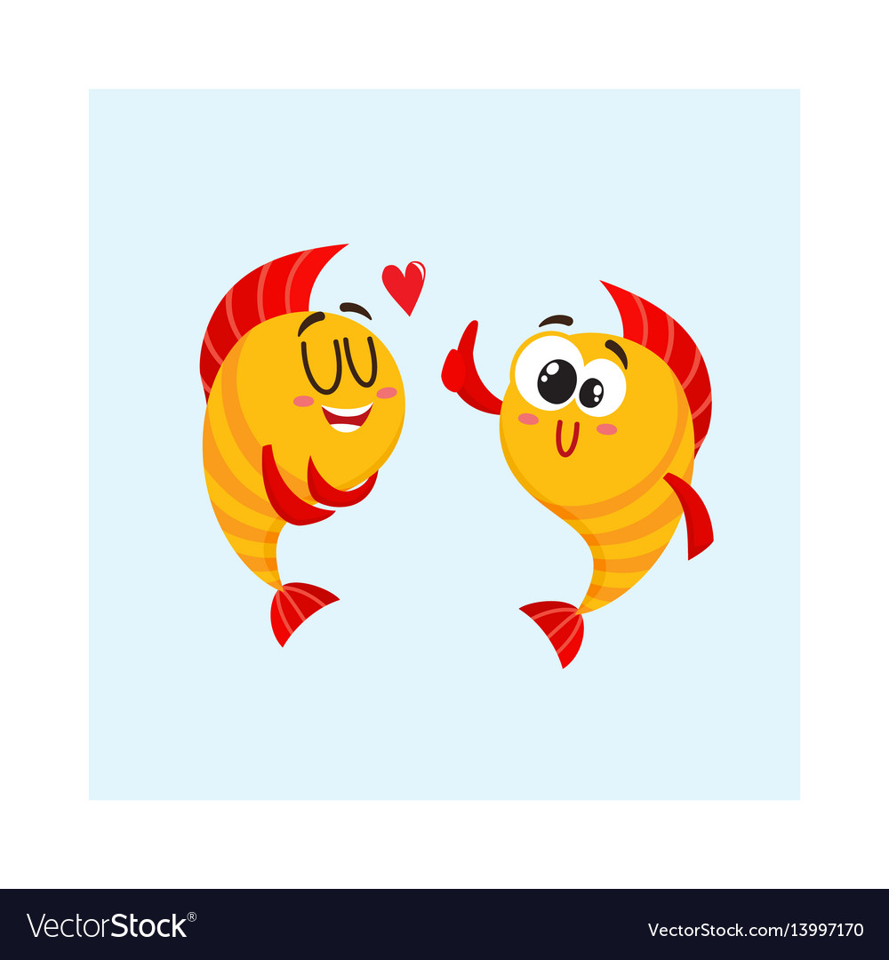 Two golden fish characters showing love giving vector image