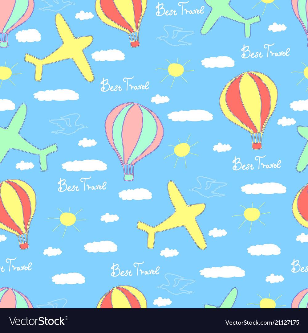 Best travel cartoon seamless pattern