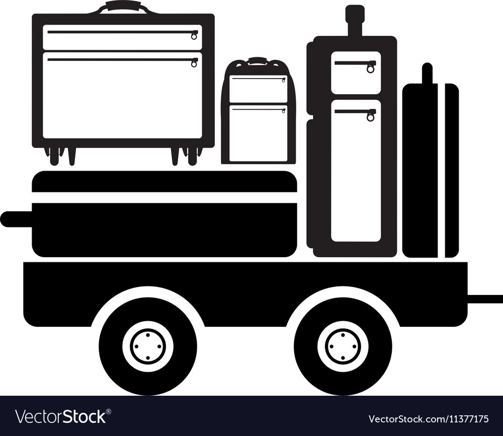 Black silhouette freight car for baggage