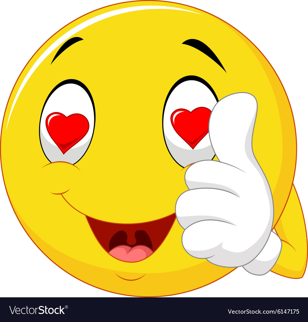 Cartoon happy love face and giving thumb up