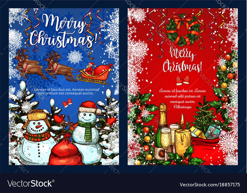 Christmas greeting sketch greeting card Royalty Free Vector