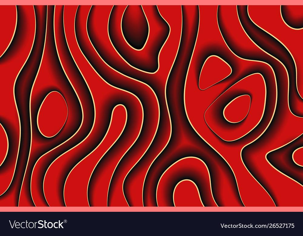 Creative line art dark red waves paper style