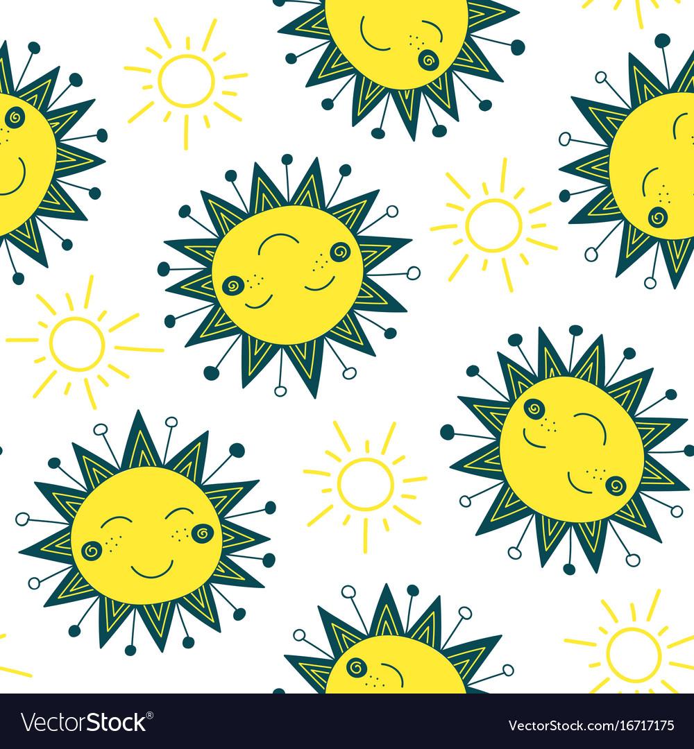 Cute sun seamless pattern