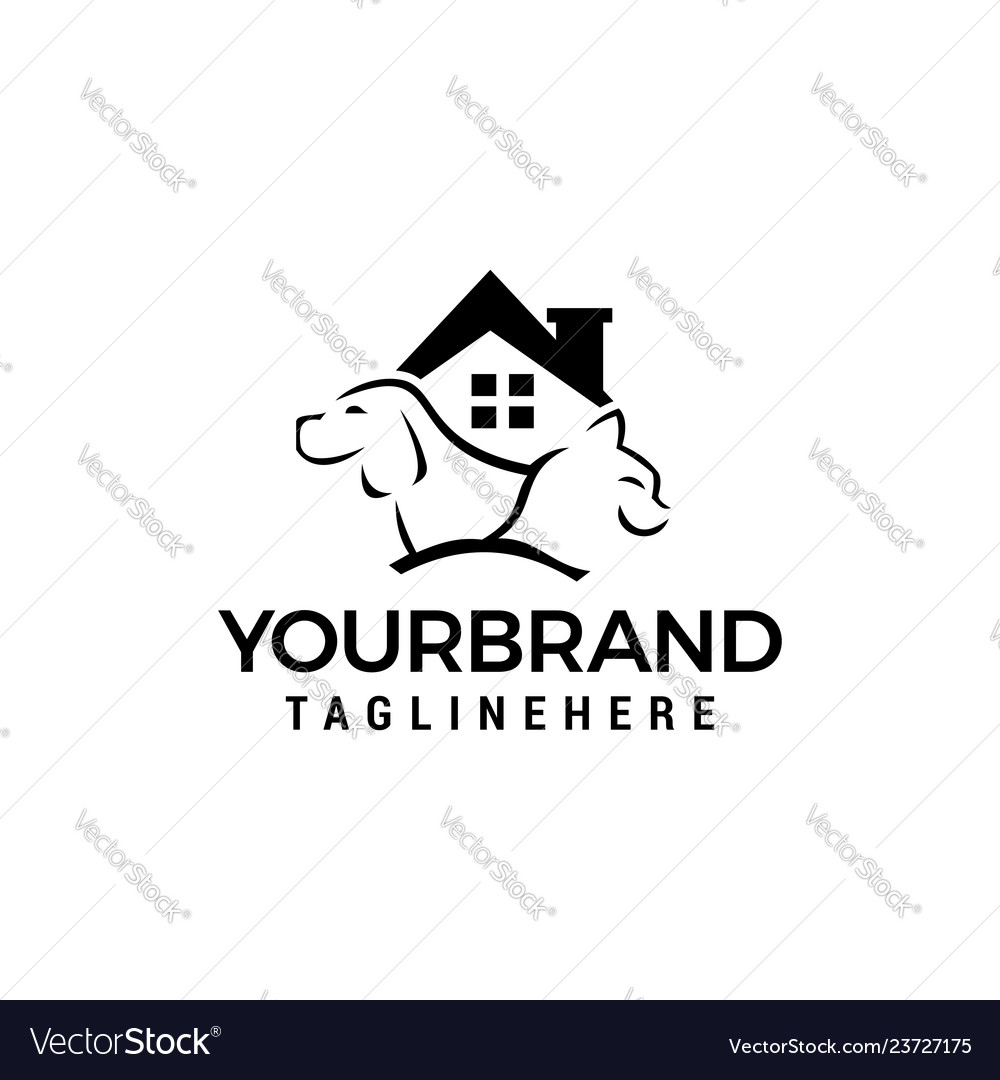 Dog cat house logo template icon design
