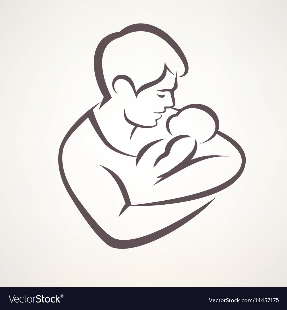 Father And Baby Isolated Symbol Royalty Free Vector Image