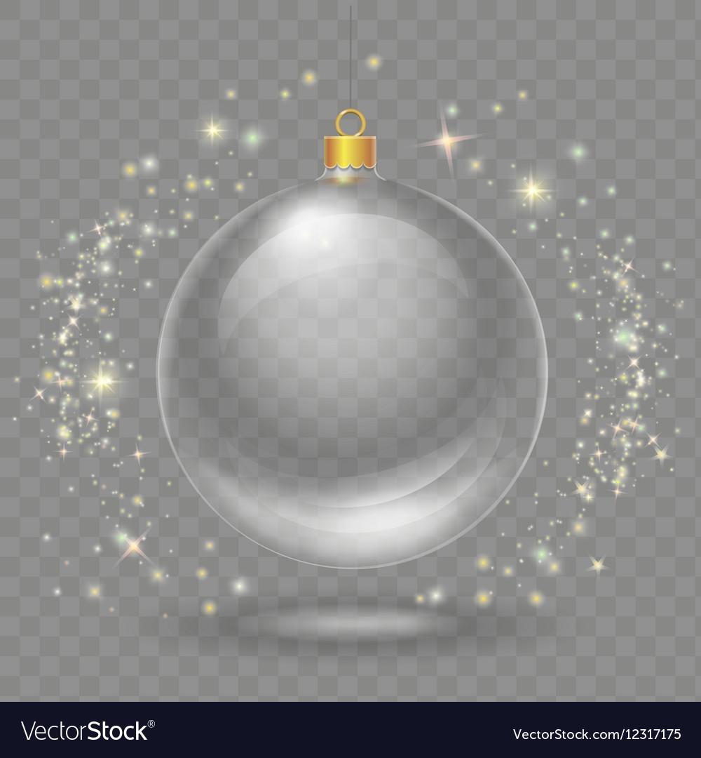 Glass transparent christmas ball Xmas design vector image