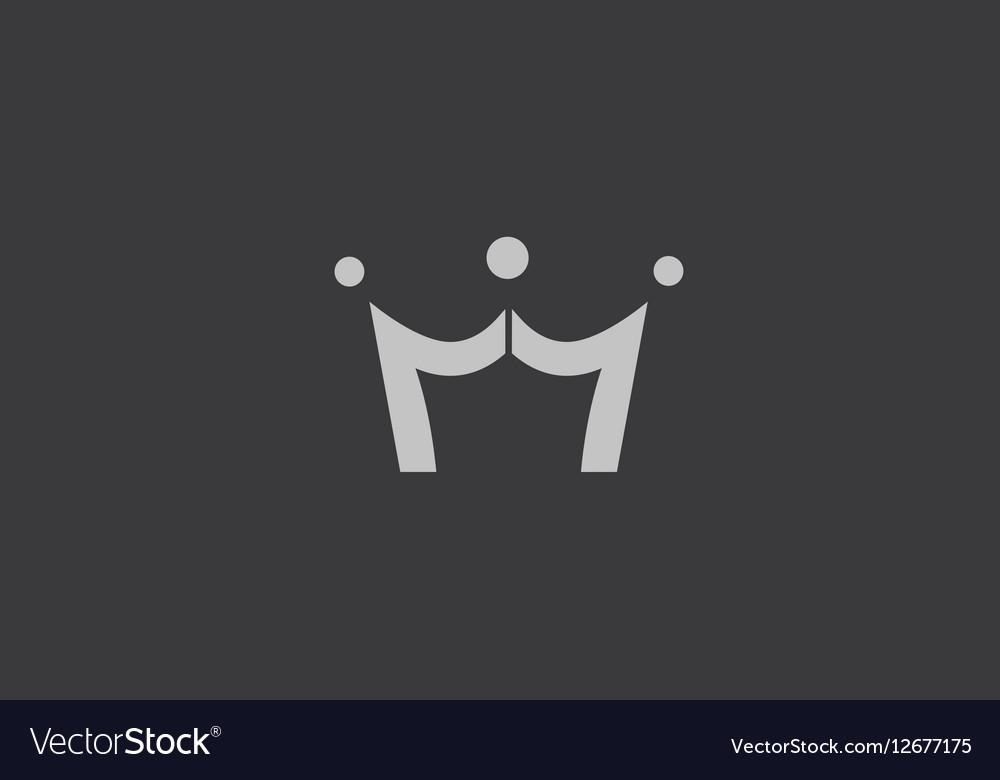 King crown grey black logo icon design vector image