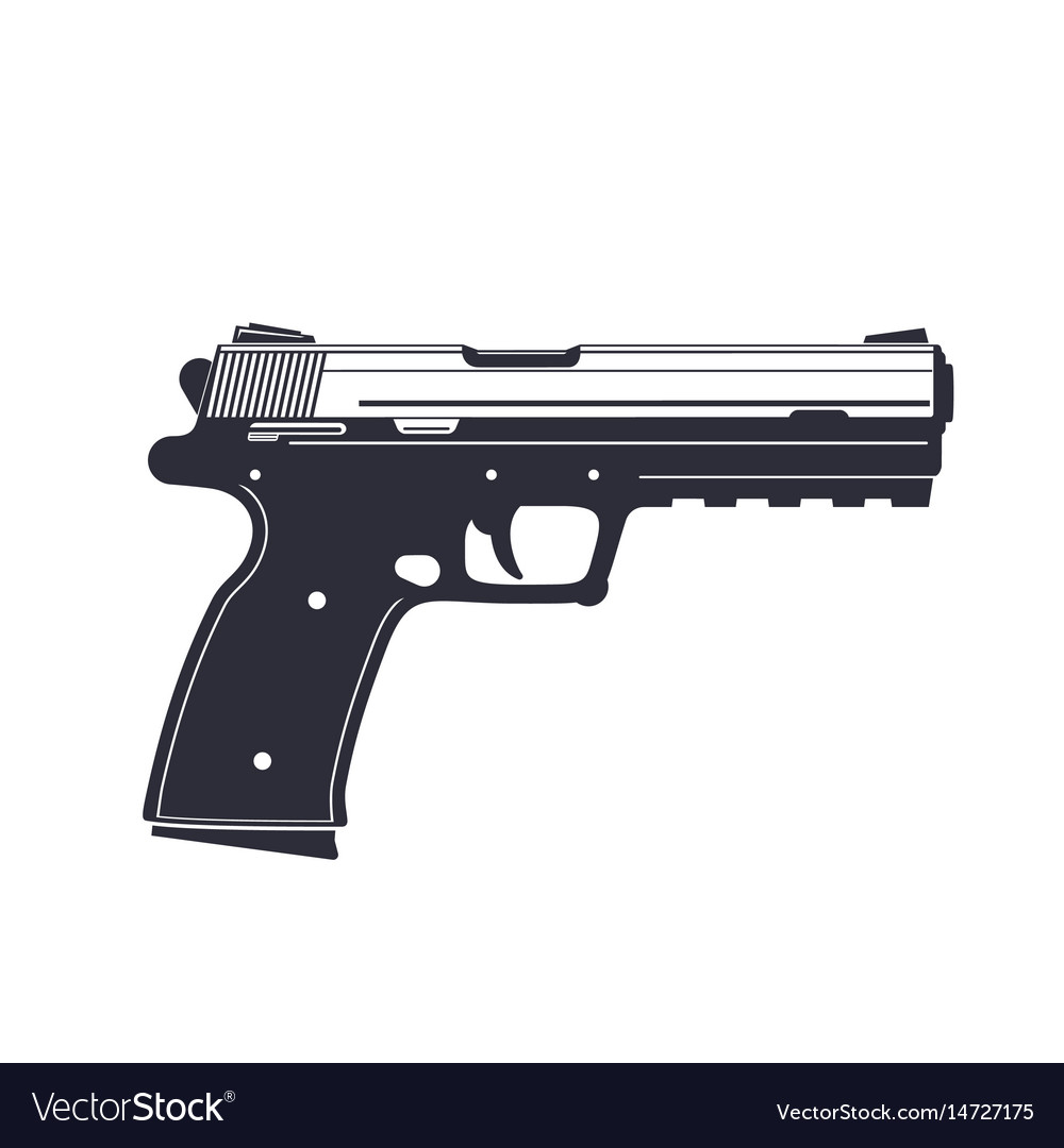 Modern pistol handgun isolated on white