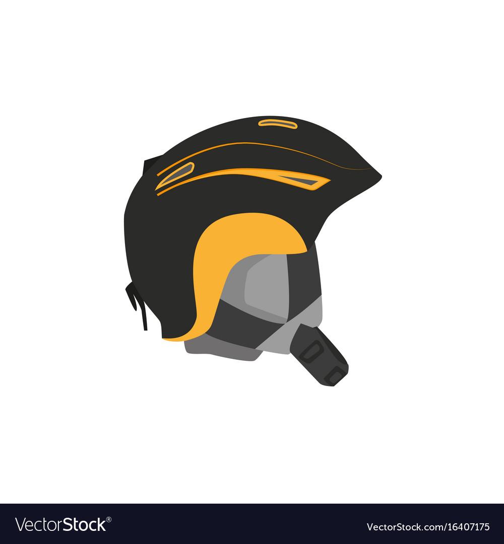 Snowboarding helmet flat icon isolated