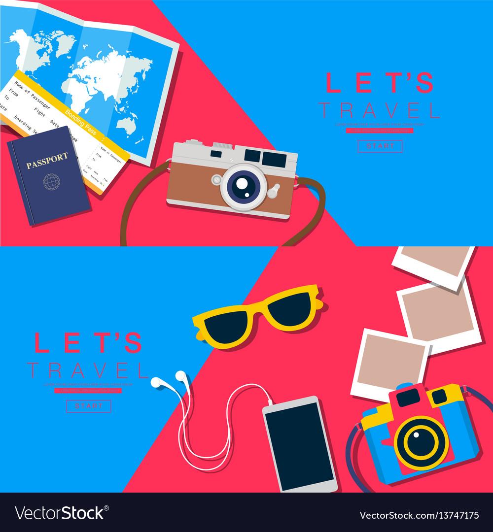 Summer background travel banner layou vector image