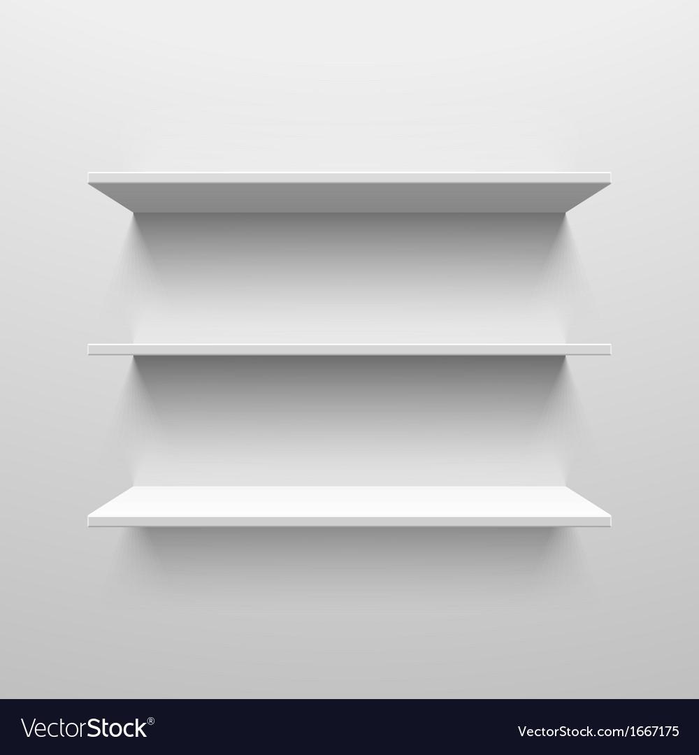 Three white shelves vector image