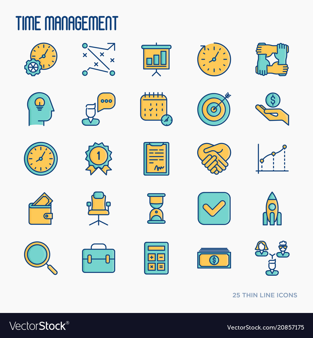 Time management thin line icons set