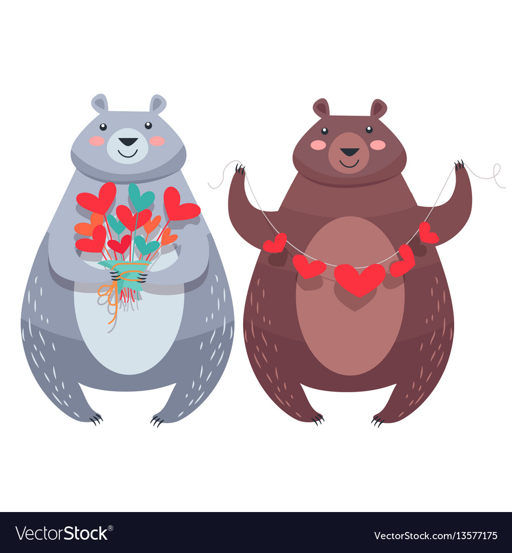 Valentine bears with necklace of hearts flowers