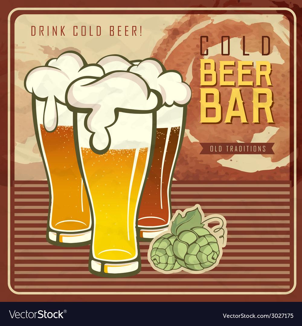 Vintage Beer Or Brewery Poster Vector Image