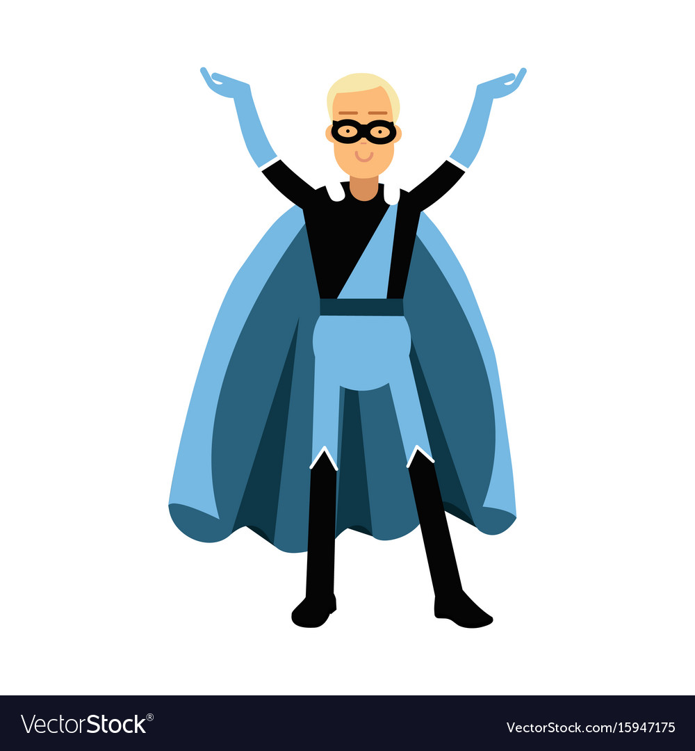 Young smiling masked man in a blue superhero