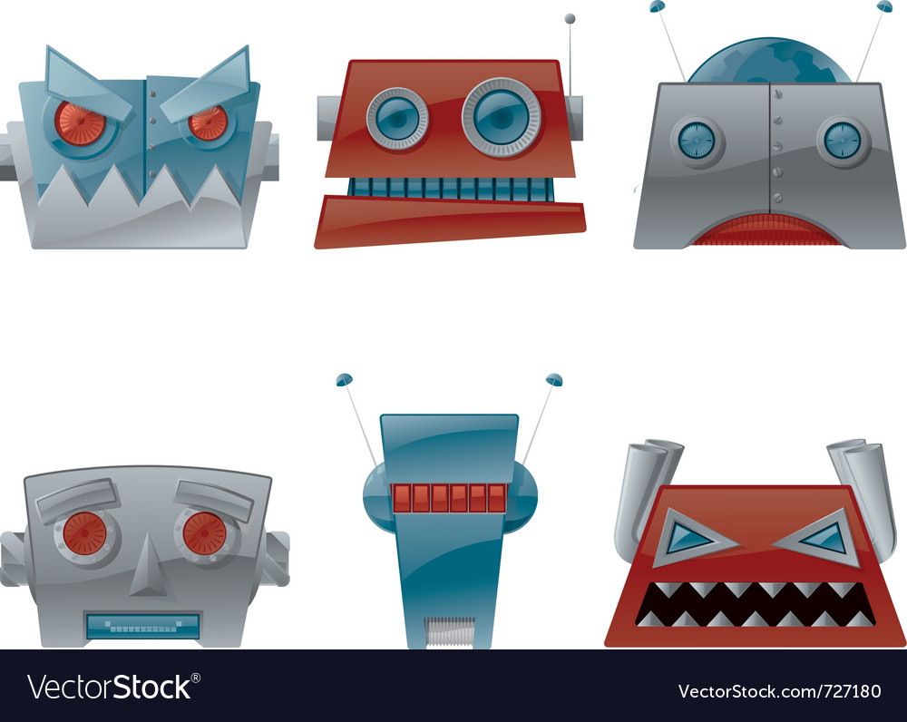 Cartoon robot heads vector image