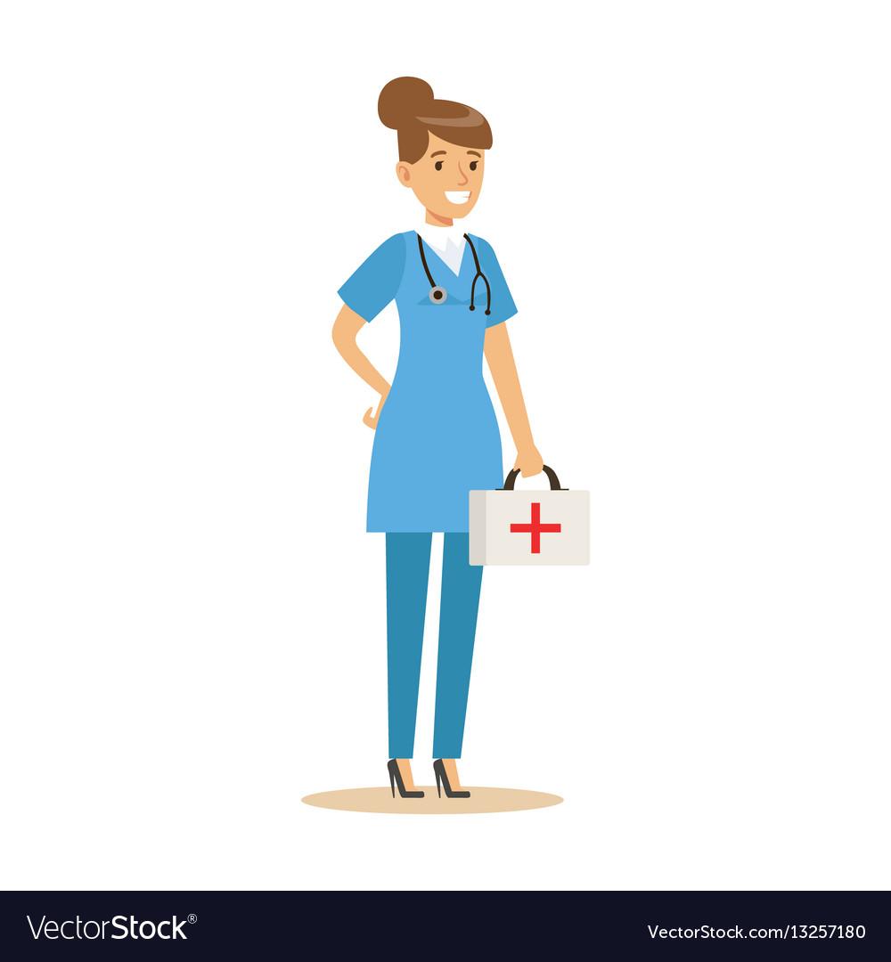 Female emergency service doctor wearing medical vector image