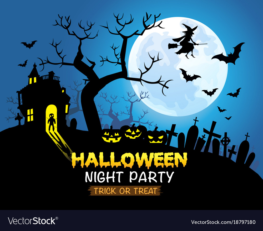 Halloween night party blue background vector image