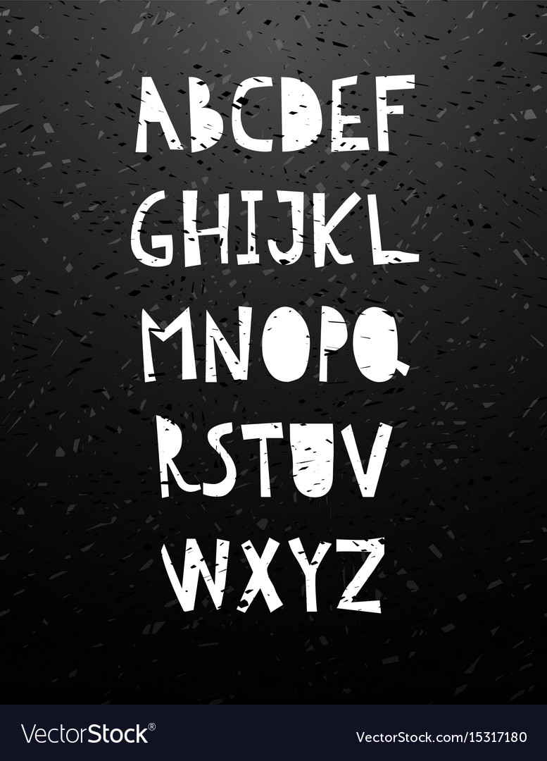 Hand cut calligraphy lettering alphabet