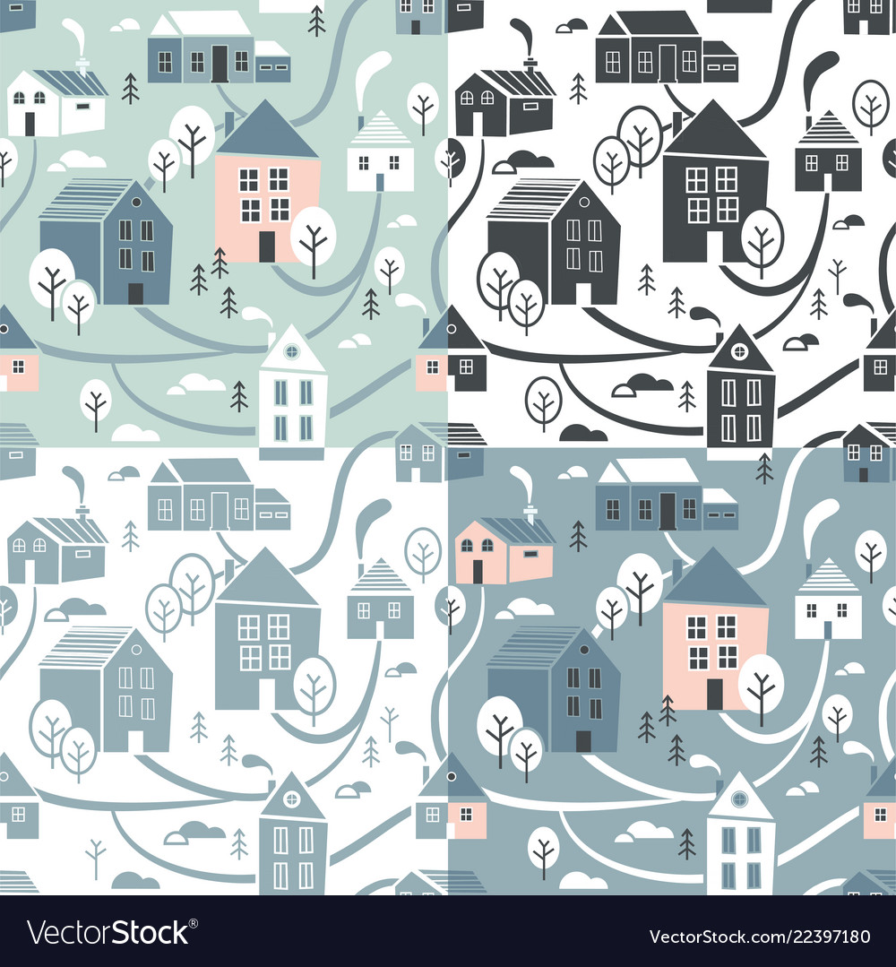 Northern town seamless pattern set for winter