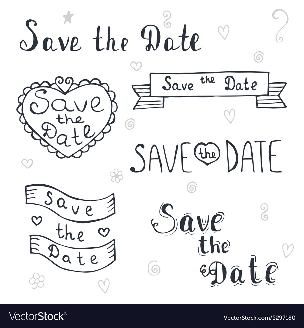 Save the date Wedding invitation Romantic set with