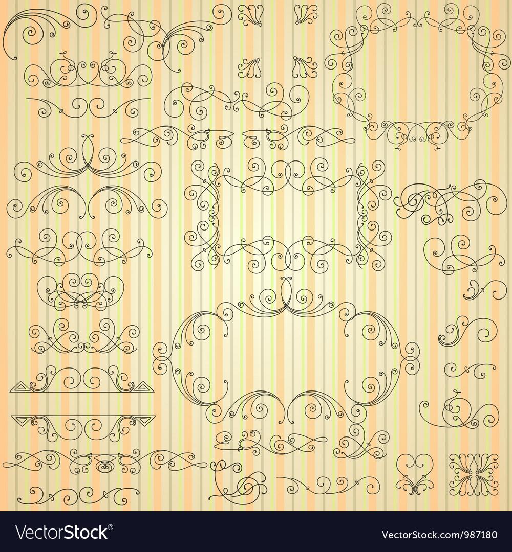 Set of calligraphic swirls for design vector image