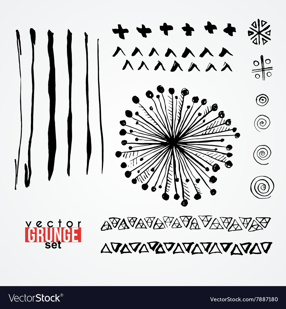Set of dirty scratched painted with paints inks vector image