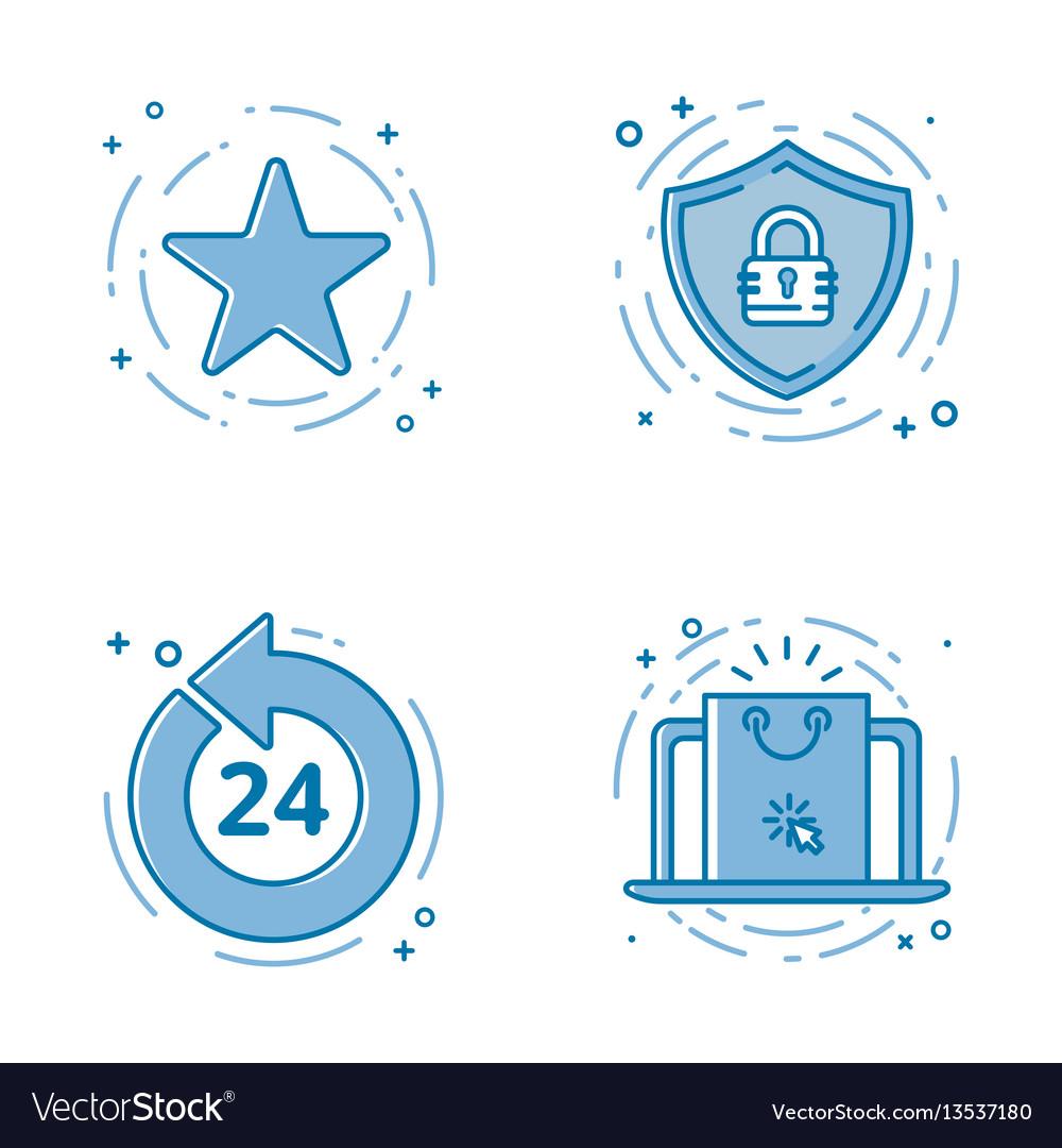 Set of flat bold line icons