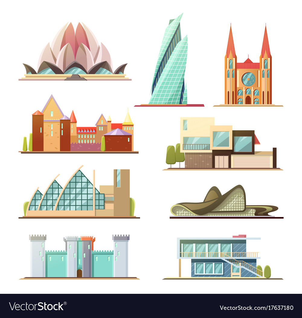 Set of line commercial and residential buildings