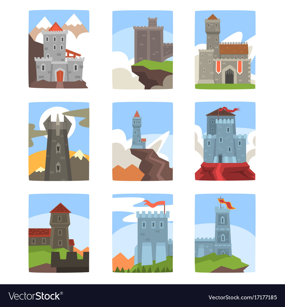 Ancient castles and fortresses set medieval