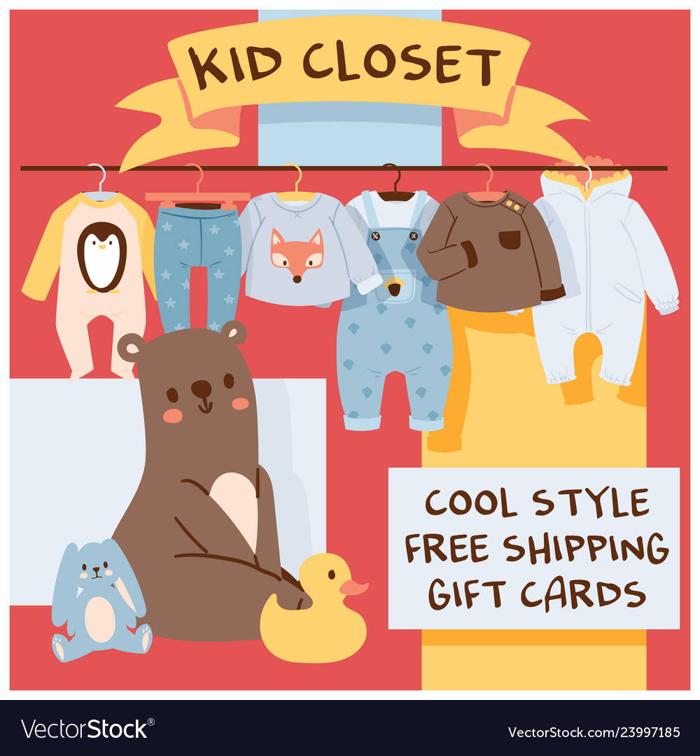 01cc07a92 Baby shop cartoon kids clothing toys newborn Vector Image