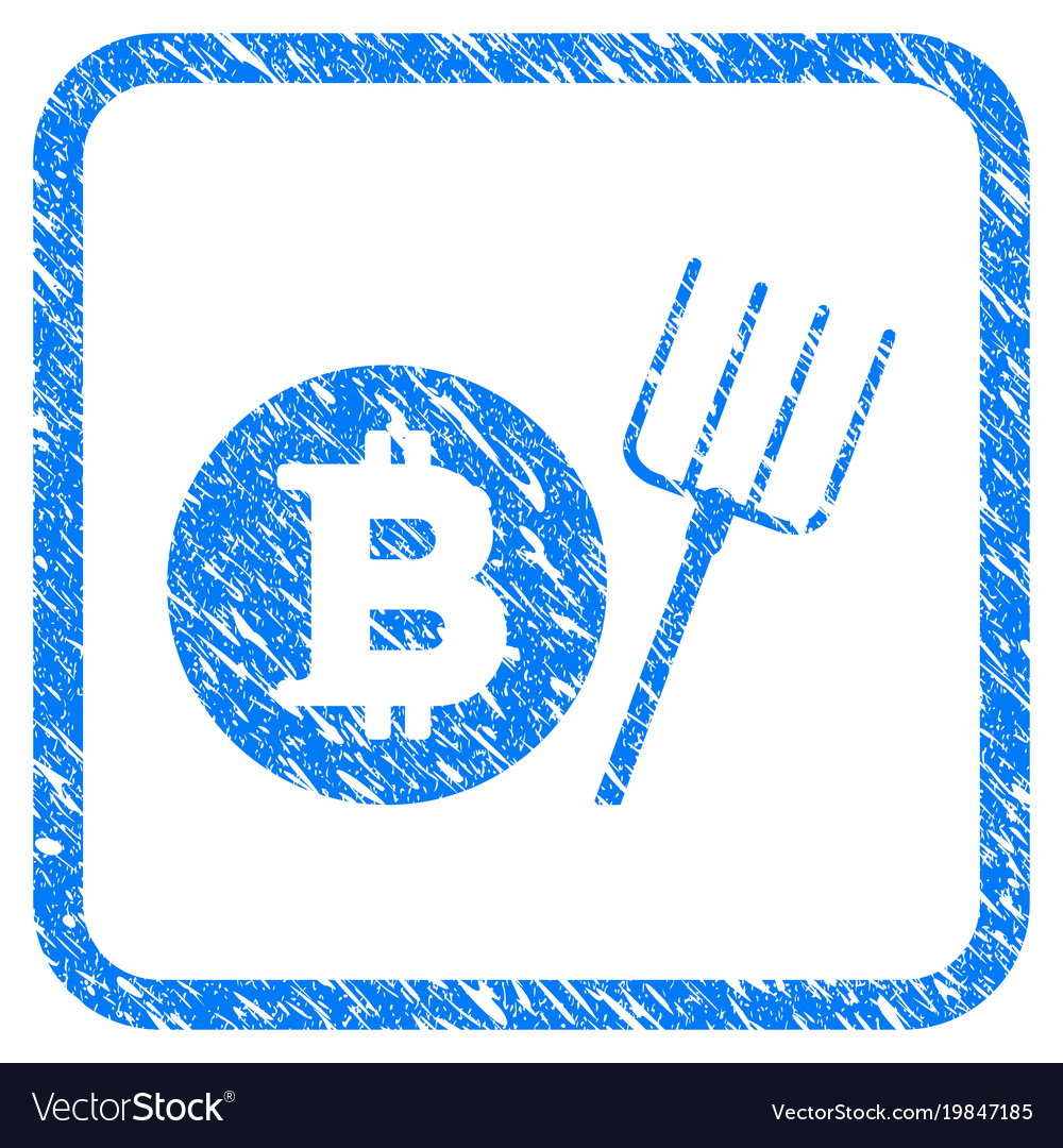 Bitcoin pitchfork framed stamp