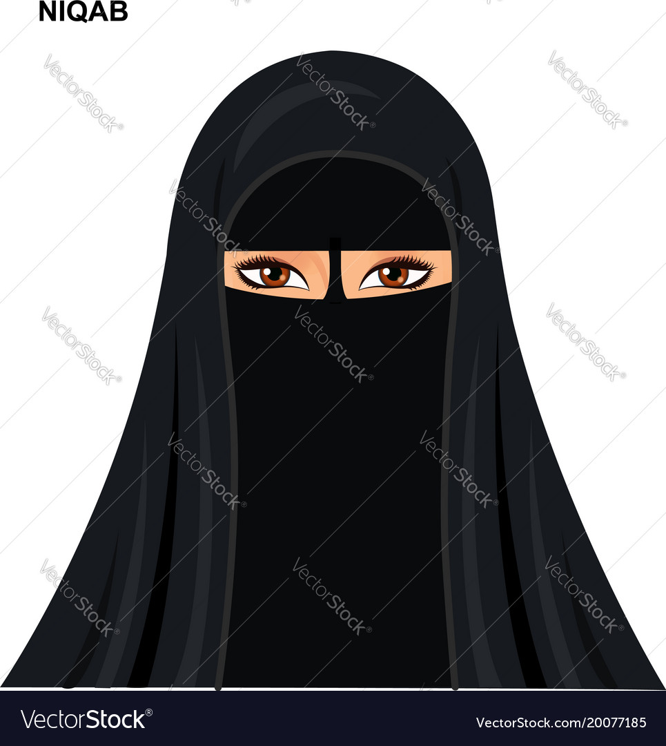 Black niqab style muslim woman