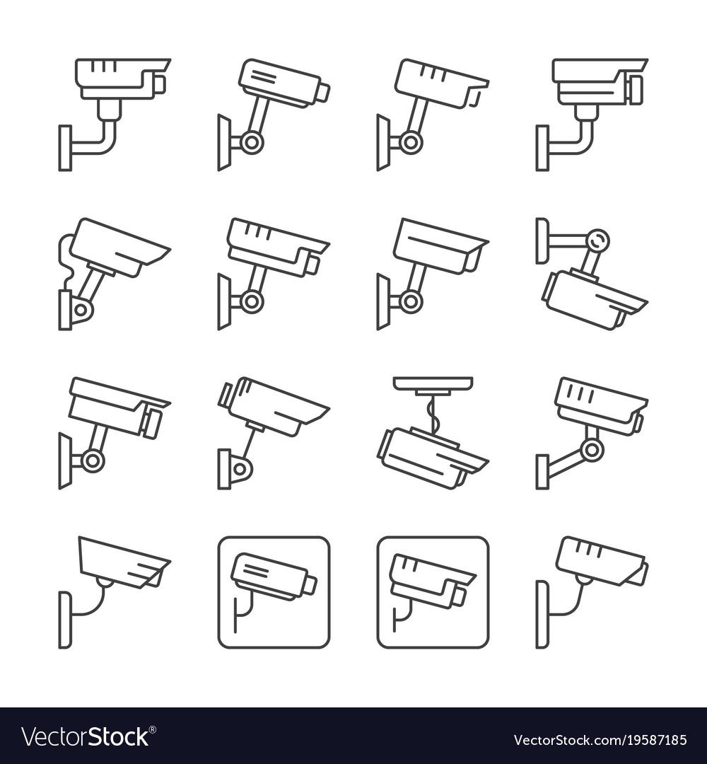 Cctv camera linear icons set