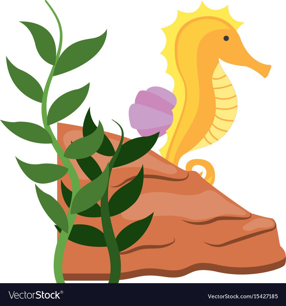 Cute seahorse isolated icon