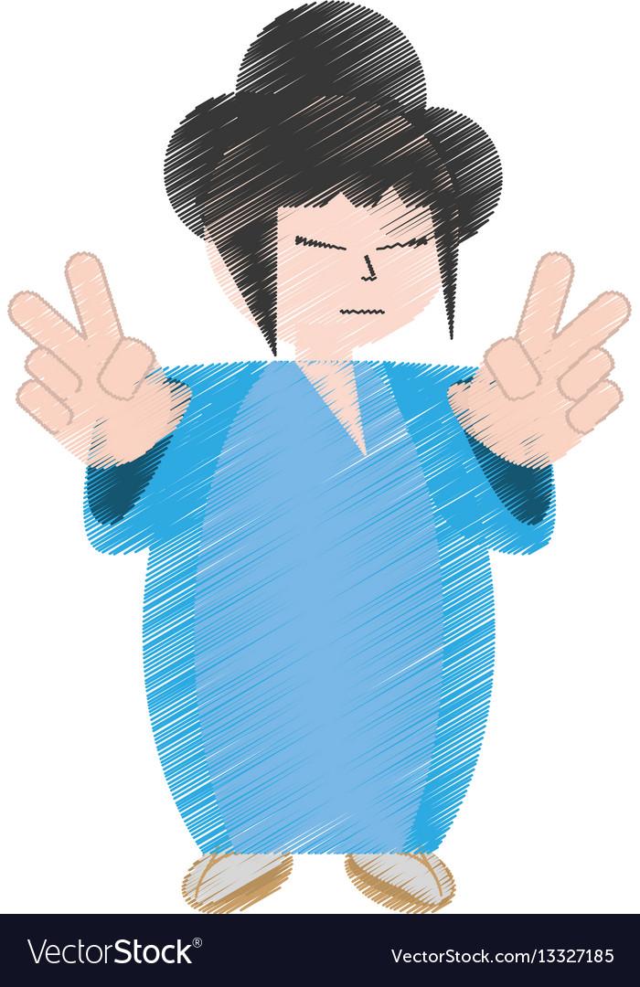 Drawing asian woman wearing dress and sakura vector image