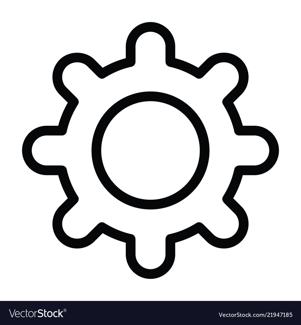 Gear icon with outline style